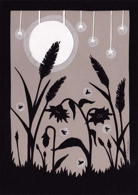 Night Lights - Cut Paper Art - 5 x 7 inches