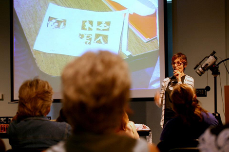 Beatrice Coron presenting at the Topeka Public Library. Image (c) Alice Sabatini Art Gallery.