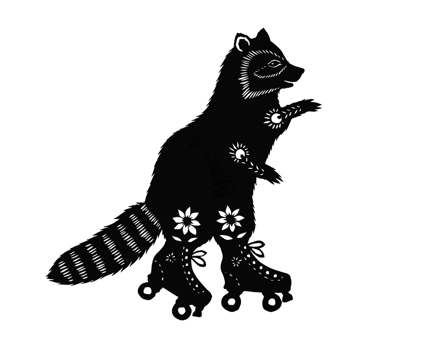 R Is For Raccoon On roller skates